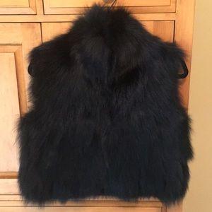 Adrienne Landau cropped fox vest